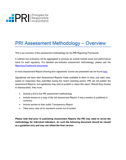PRI Assessment Methodology Thumb