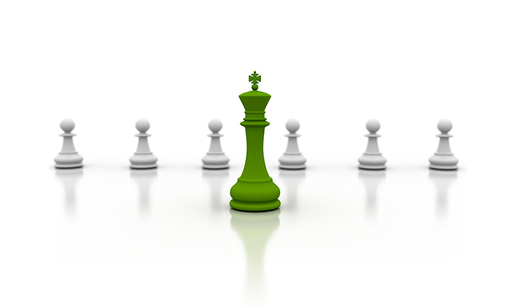 Chess pieces in green and white